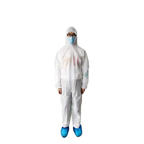 Garneck Disposable Coveralls Protective With Elastic Cuffs Ankles And Waist Zip Front Opening For Spray Painting Surgical Cleaning Work White, Size XXL) von Garneck