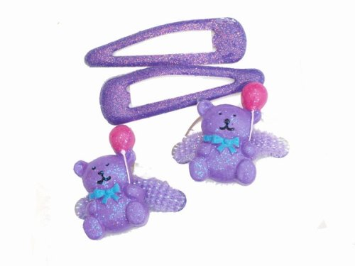 Glitz4Girlz Purple Glitter Teddy Hair Set by Glitz4Girlz von Glitz4Girlz