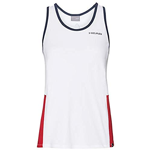 HEAD Damen CLUB Tank Top W T-shirts, White/Red, S von HEAD