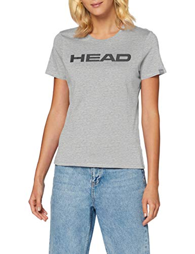 HEAD Damen Club Lucy T-Shirt W, Grey Melange/Black, M von HEAD