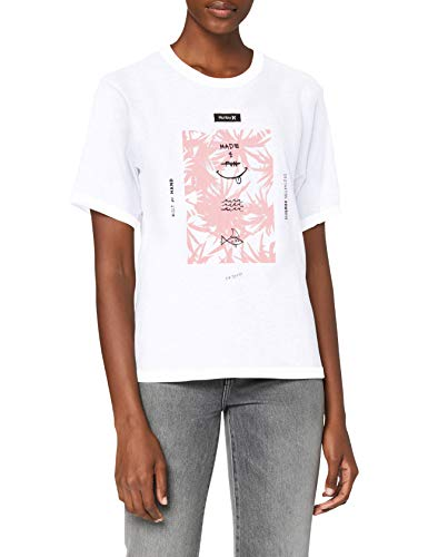 Hurley Damen W FLORAL Spike Perfect Crew T-Shirts, White, S von Hurley