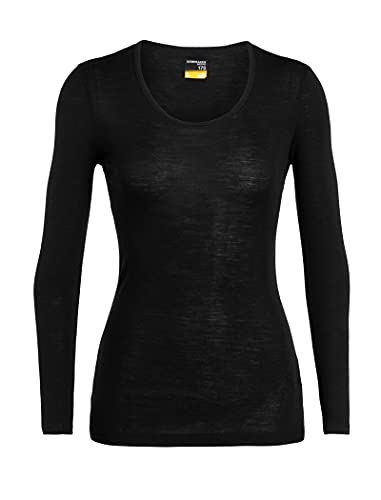 Icebreaker Damen 175 Everyday LS Scoop T-Shirt, Black, M von Icebreaker