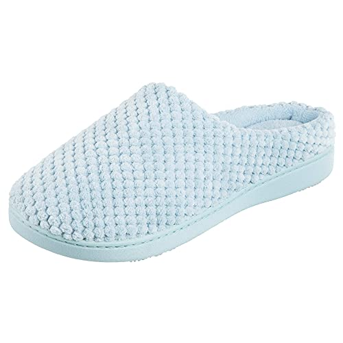 Isotoner Damen Textured Microterry Hoodback Clog Slipper, Blau-Bonnie Blue, 39.5/40 EU von Isotoner