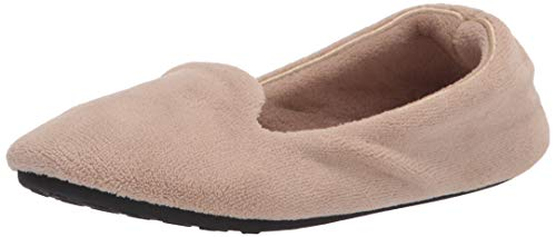 Isotoner Damen Velour Smoking Slipper, Taupe, 35.5/36.5 EU von Isotoner
