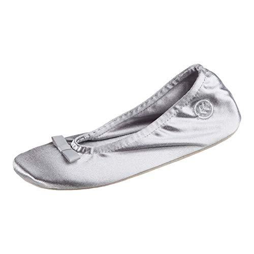 Isotoner Damen Women's Satin Ballerina with Slipper, Light Grey Ribbon Bow, 35.5/36.5 EU von Isotoner
