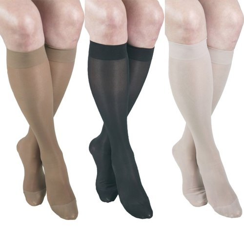ITA-MED Sheer Knee Highs, Compression (23-30 mmHg) Mixed Colors, Medium, 3 Count von Ita-Med