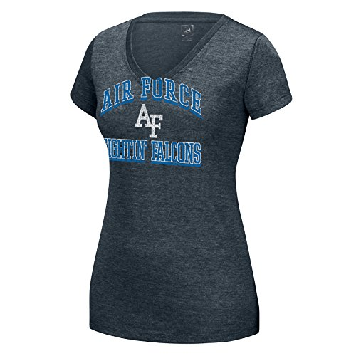 J America NCAA Damen Distressed Schule Arch Heathered Grand Slam Tee, Damen, Heathered Grand SLAM Tee, Charcoal Htr, Small von J America