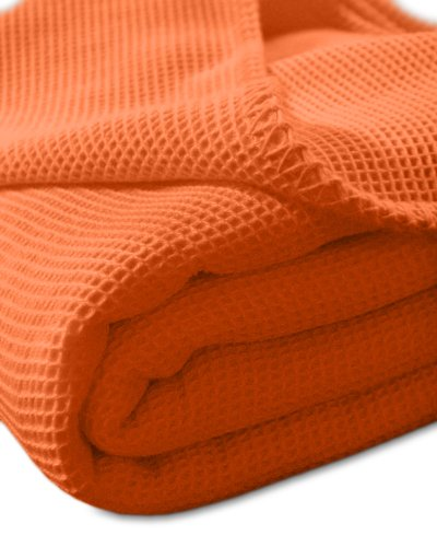 Kneer Waffelpique Decke Baumwolle Orange 150 cm x 210 cm von Kneer