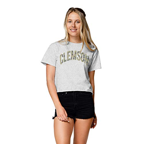 LEAGUE&CO NCAA Damen Wäscheleine Baumwolle Bauchfreies Top, Damen, Clothesline Cotton Crop Top, Asche, Large von LEAGUE&CO