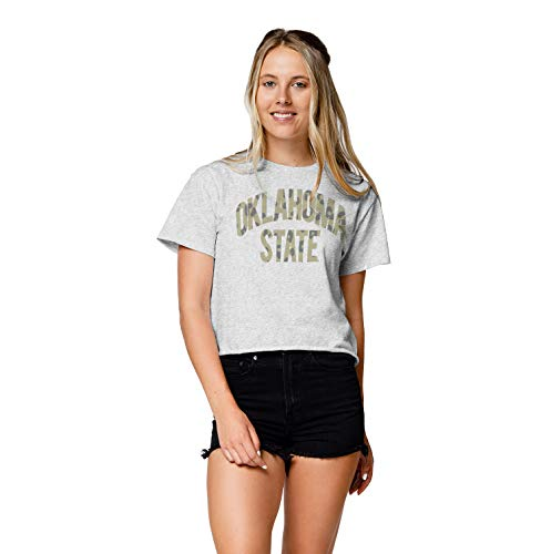 LEAGUE&CO NCAA Damen Wäscheleine Baumwolle Bauchfreies Top, Damen, Clothesline Cotton Crop Top, Asche, X-Large von LEAGUE&CO