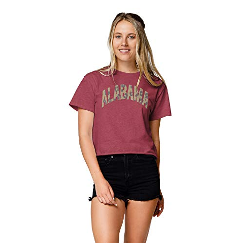 LEAGUE&CO NCAA Damen Wäscheleine Baumwolle Bauchfreies Top, Damen, Clothesline Cotton Crop Top, Vintage Light Maroon, Medium von LEAGUE&CO