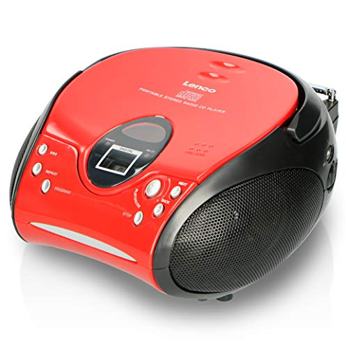 Lenco Radio CD-Player SCD-24 tragbares Stereo UKW-Radio mit CD-Player und Teleskopantenne in rot von Lenco