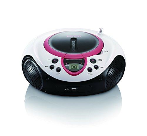 Lenco Kinder Radio CD-Player SCD-38 tragbares UKW-Radio mit CD/MP3-Player und USB in pink von Lenco