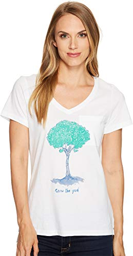 LIFE IS GOOD Damen-Grow Tree Swirl Pocket Vibe Tee, Damen, Wolkenweiß von Life Is Good