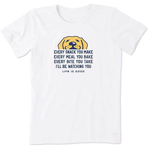 Life Is Good Damen Standard Crusher Graphic T-Shirt I'll Be Watching You, Cloud White, XS von Life Is Good