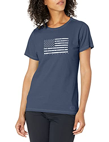 Life Is Good W Crusher Tee Kind People Hpygrp Sport-T-Shirts, Damen, Crusher T-Shirt Usa Flag, Flagge Dunkelblau, Medium von Life Is Good
