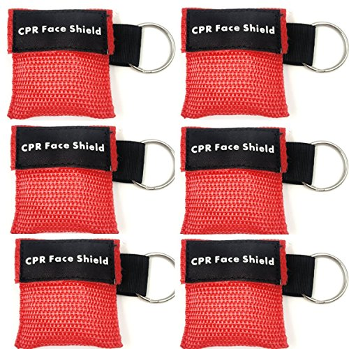 Lifesport Beatmungsmaske, 6 Stücke CPR Maske Schlüsselbund Ring Rescue Face Shields Emergency Kit Bea (Rot) von Lifesport