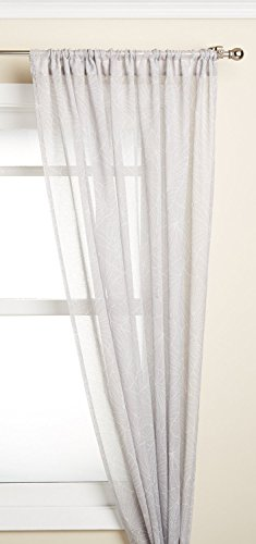 Lorraine Home Fashions Irvine Tailored Window Curtain Panel, 52 x 63, White on Gray von Lorraine Home Fashions