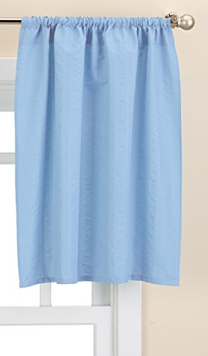 Lorraine Home Fashions Seersucker Solid Color Tailored Window Tier, 56 X 24 Inch, Blue von Lorraine Home Fashions