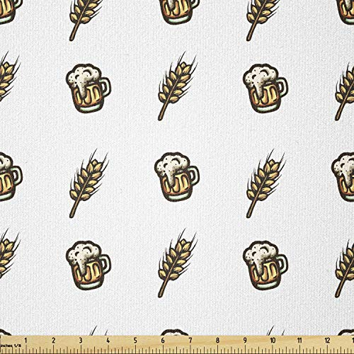Lunarable Stoff Oktoberfest von The Yard, Little Wheat Ears and Foamy Beer Glasses Ale Alcohol Brewing Thema, Stretch Knit Fabric for Clothing Sewing and Arts Crafts, 91 cm, Weiß Gelb von Lunarable