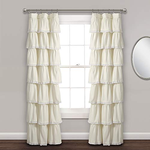 "Lush Decor, 84"" x 52"", Ivory Lace Ruffle Window Curtain Panel von Lush Decor"