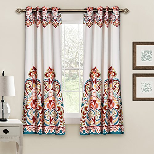 "Lush Decor Clara Curtains Paisley Damask Print Bohemian Style Room Darkening Window Panel Set for Living, Dining, Bedroom (Pair), 63"" x 52"", Turquoise and Tangerine von Lush Decor"