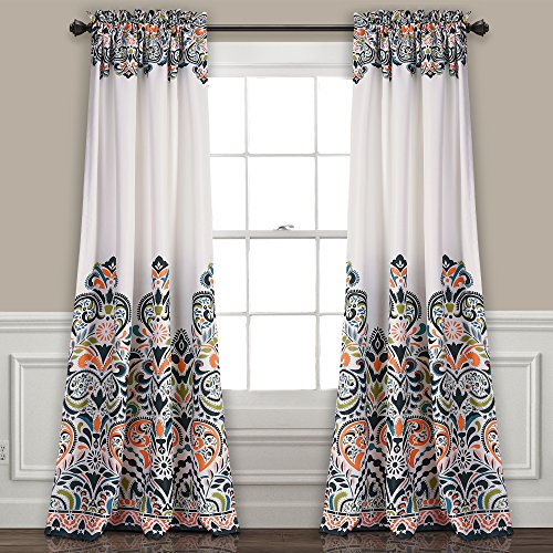 "Lush Decor Clara Curtains Paisley Damask Print Bohemian Style Room Darkening Window Panel Set for Living, Dining, Bedroom (Pair), 84"" x 52"", Navy & Tangerine von Lush Decor"