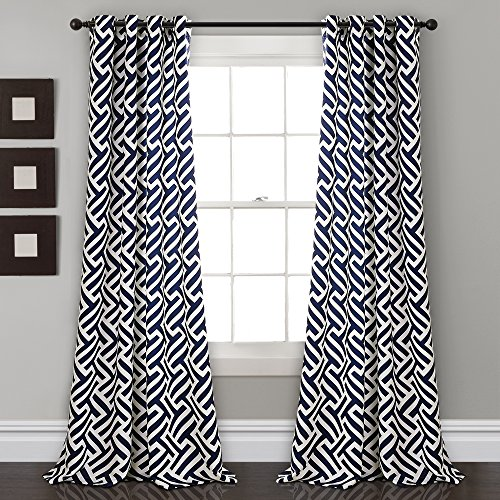 "Lush Decor Giovana Room Darkening Window Curtain Panel Pair, 84"" x 52"", Navy von Lush Decor"