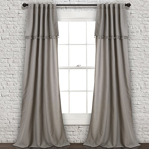 "Lush Decor Ivy Tassel Window Curtain Panel Pair, 84"" x 40"", Grey von Lush Decor"