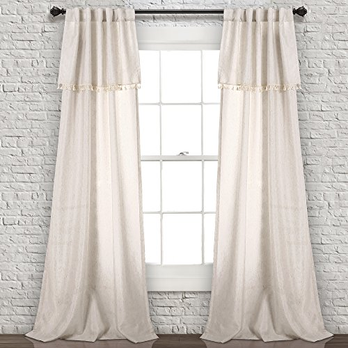 "Lush Decor Ivy Tassel Window Curtain Panel Pair, 84"" x 40"", Neutral von Lush Decor"