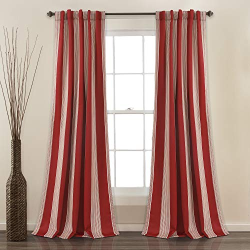 "Lush Decor Julia Stripe Room Darkening Window Curtain Panel Pair, 84"" x 52"", Red von Lush Decor"
