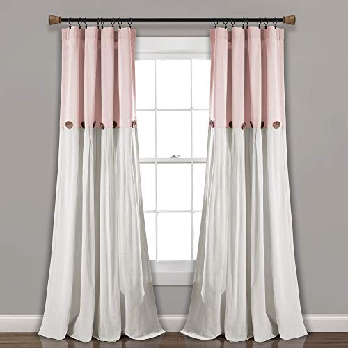 "Lush Decor Linen Button Window Curtain Single Panel, 84"" x 40"", Blush/White, 84""x 40"" von Lush Decor"
