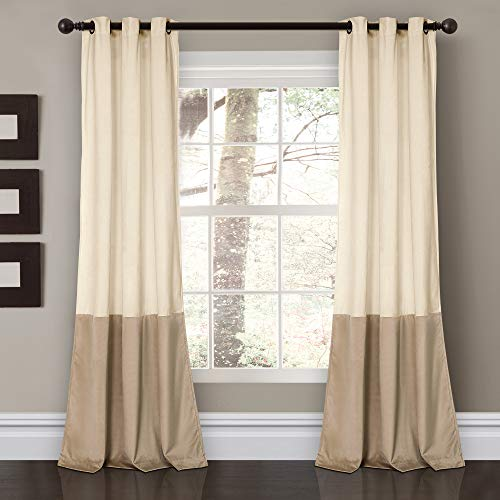 "Lush Decor Prima Velvet Curtains Color Block Room Darkening Window Panel Set for Living, Dining, Bedroom (Pair), 84"" L, Ivory von Lush Decor"