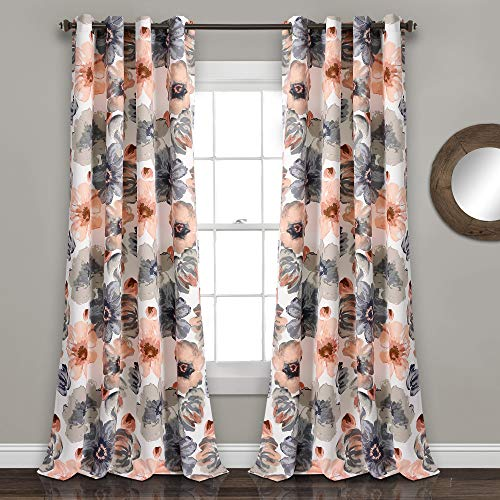 "Lush Decor Room Darkening Window Curtain Panel Pair Leah Floral Insulated Grommet, 120"" L, Coral and Gray von Lush Decor"