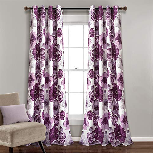 "Lush Decor Room Darkening Window Curtain Panel Pair Leah Floral Insulated Grommet, 95"" L, Purple and Gray von Lush Decor"