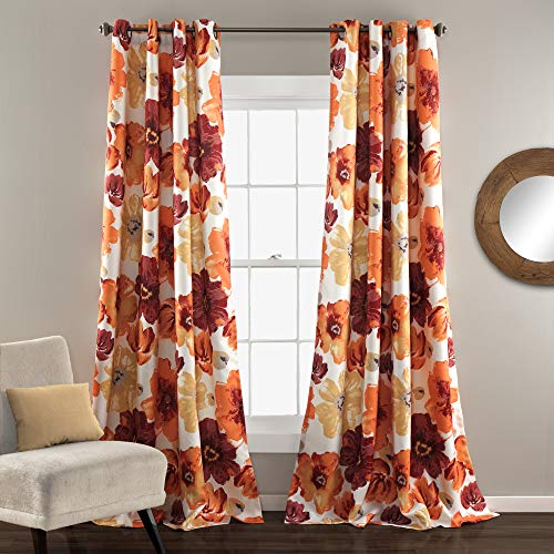 "Lush Decor Room Darkening Window Curtain Panel Pair Leah Floral Insulated Grommet, 95"" L, Red and Orange von Lush Decor"