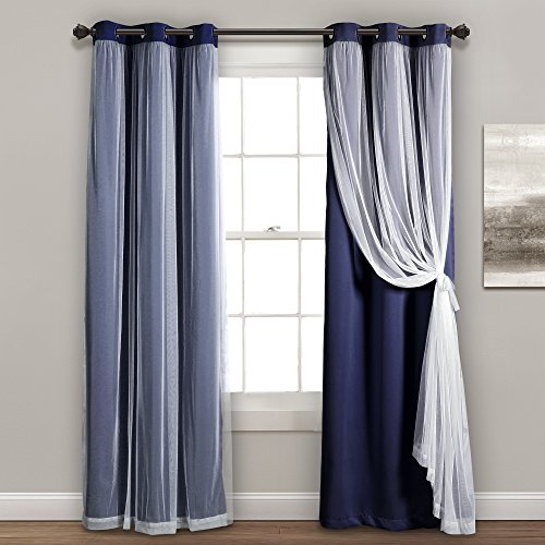 "Lush Decor Sheer Grommet Panel with Insulated Blackout Lining, Room Darkening Window Curtain Set (Pair), 84"" L, Navy von Lush Decor"