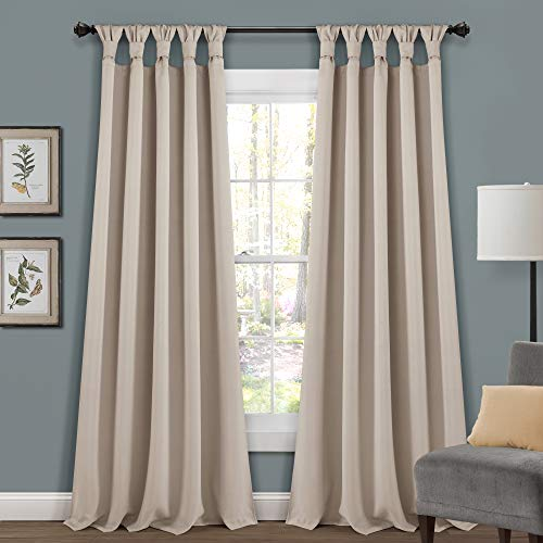 "Lush Decor, Wheat Insulated Knotted Tab Top Blackout Window Curtain Panel Pair, 84"" x 52"" von Lush Decor"