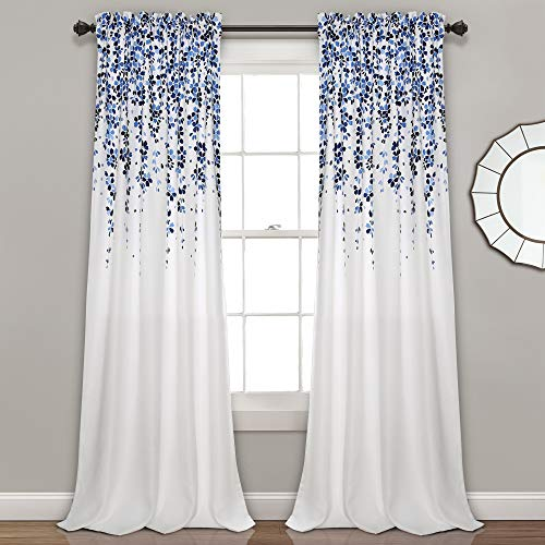 "Lush Decor Weeping Flowers Curtains Room Darkening Window Panel Set (Pair), 95"" x 52"", Navy & Blue, Blue von Lush Decor"
