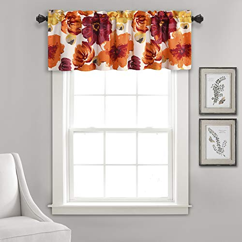 "Lush Decor Window Curtain Valance Leah Floral Insulated Grommet, 18"" L, Red and Orange von Lush Decor"
