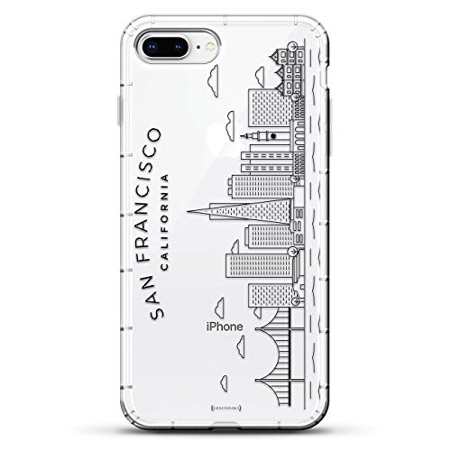 Flags: Albanian Flag - Luxendary Air Series Clear Silikon Case mit 3D Druck Design und Air-Pocket Cushion Bumper für iPhone 8/7 Plus, Sehenswürdigkeiten: San Francisco-Skyline, farblos von Luxendary