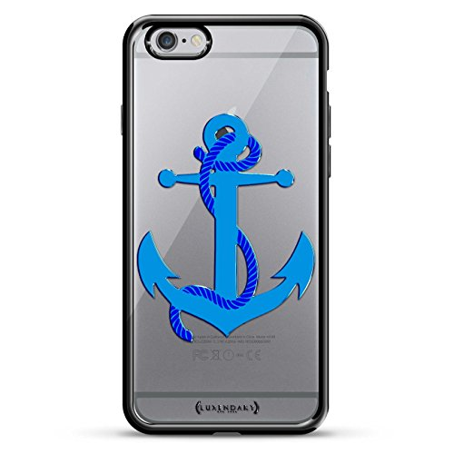 Luxendary LUX-I6PLCRMB-ANCHOR2 Big Blue Anchor with Rope Design Chrome Series Case for iPhone 6/6S Plus - Titanium Black von Luxendary