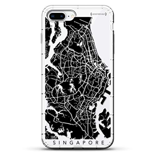 Luxendary Singapore Streets Map Air Series Designer Case with Air-Pocket Cushions for iPhone 8/7 Plus - Clear von Luxendary