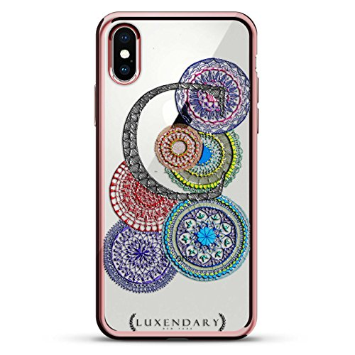Mandalas and INITIAL C Style 5 | Luxendary Chrome Series Designer case for iPhone X in Rose Gold Trim von Luxendary