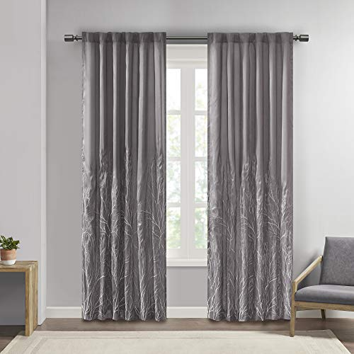 Madison Park Andora Embroidered Back Tab Fabric Window Living Room, Transitional Rod Pocket Light Curtain for Bedroom, 1-Panel Pack, 50 x 84, Grey von Madison Park