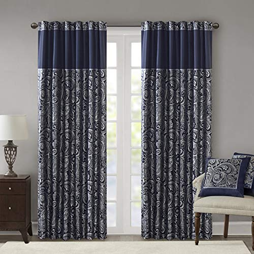 "Madison Park Aubrey Faux Silk Paisley Jacquard, Rod Pocket Curtain with Privacy Lining for Living Room, Kitchen, Bedroom and Dorm, 50"" x 108"", Navy von Madison Park"