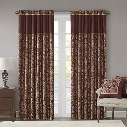 "Madison Park Aubrey Faux Silk Paisley Jacquard, Rod Pocket Curtain with Privacy Lining for Living Room, Kitchen, Bedroom and Dorm, 50"" x 95"", Burgundy von Madison Park"
