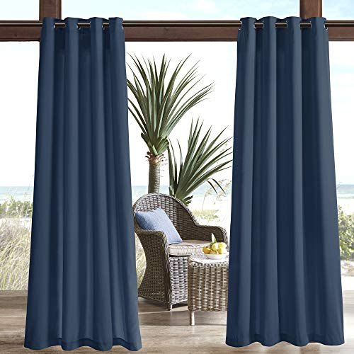 "Madison Park Pacifica Solid 3M Scotchgard Outdoor Curtain Door Treatment Panel for Patio Porch or Balcony, 54"" W x 108"" L, Navy von Madison Park"