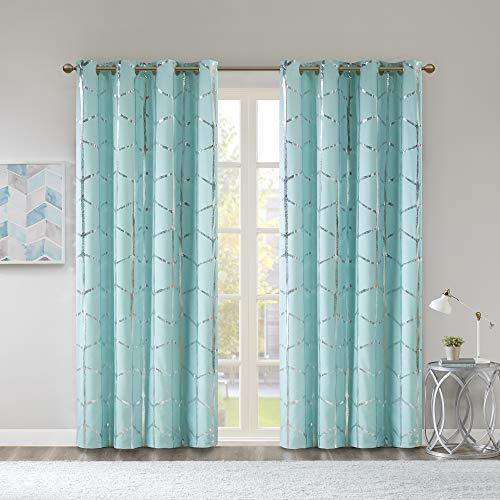 Madison Park Raina Total Blackout Metallic Print Grommet Top Window Curtain Panel Thermal Insulated Light Blocking Drape for Bedroom Living Room and Dorm, 50x84, Aqua/Silver von Madison Park