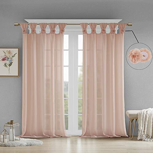 "Madison Park Rosette Floral Embellished Cuff Tab Top Solid Window Treatments Curtain Panel Drape for Bedroom Living Room and Dorm, 50"" W x 84"" L, Blush von Madison Park"